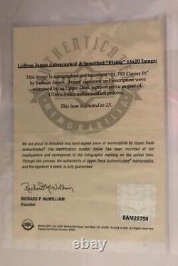 Lebron James Autographié 16x20 Photo 21,793 Carrière Pt Flying Upper Deck Uda