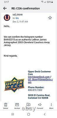 Lebron James Signé Autographed Framed Jersey Upper Deck Uda Cleveland Cavaliers