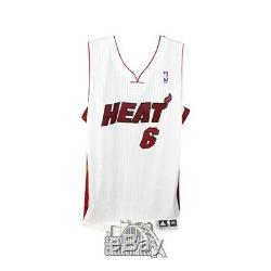 Lebron James Signé Autographié Blanc Stat Jersey Miami Heat / 25 Uda