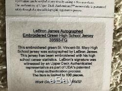 Lebron James Uda Upper Deck Hs St Mary Encadré Signée Autographié Stat Jersey