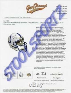 Manning Portés Peyton Utilisé Gu Autographié NFL Colts Casque Upper Deck Uda Loa