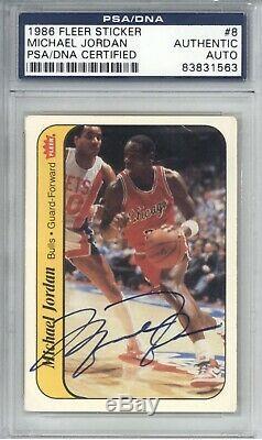 Michael Jordan 1986 Fleer Autosigné Uda Psa Rookie Sticker 8 Autograph Rc