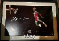 Michael Jordan Auto Slam Dunk Concours Deck Supérieur Encadré Avec Uda Coa Autographié