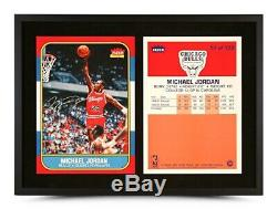 Michael Jordan Autographed 12x27 Encadrée 1986-1987 Fleer Rc Rookie Card Bulls Uda