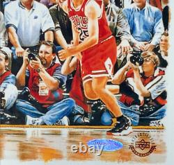 Michael Jordan Autographed Bulls Last Shot 28x42 Photo Upper Deck Uda Coa Encadré