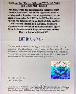 Michael Jordan Autographed Carrière Photo Set # D / 123 Upper Deck Uda Coa Encadrée