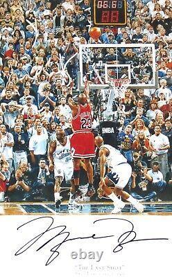 Michael Jordan Autographié Bulls Last Shot 28x42 Photo Upper Deck Uda Coa Encadré