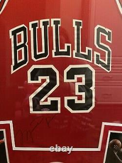 Michael Jordan Autographié Encadré Maillot Champion! Holosticker Uda! Énorme