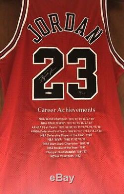 Michael Jordan Autographié Signé Red Bulls De Chicago Carrière Nike Jersey Uda / 123