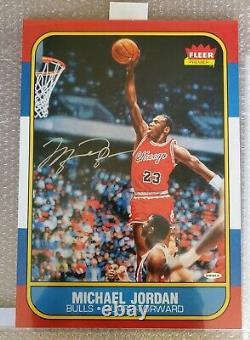 Michael Jordan Autographied Bulls Fleer Rookie Blow Up Uda