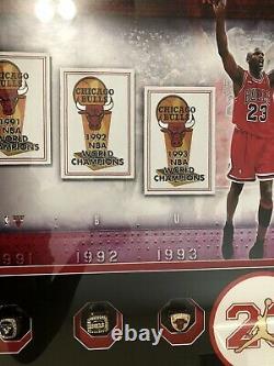 Michael Jordan Championship Banners Piece Uda Coa Holo Signé Anneaux D'auto Encadrés
