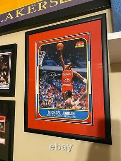 Michael Jordan Deck Supérieur Signé 1986 Fleer Rookie Rc Blowup Card Uda Museum Gl