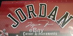 Michael Jordan Framed Uda Signé Carrière App 22x19 Upper Réalisations Pont Rare