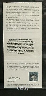 Michael Jordan Scottie Pippen Auto Encadrée Rodman Photo Signée Uda Coa 223/720