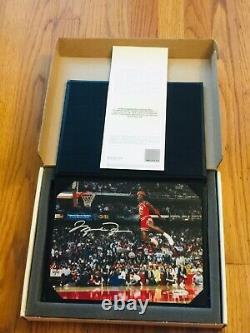 Michael Jordan Signé Autographe 8x10 Gatorade Slam Dunk Photo Plan Supérieur Uda