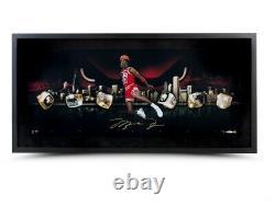 Michael Jordan Signé Autographié 36x15 Cadre Photo Ville Des Anneaux Bulls Uda