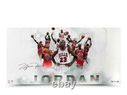 Michael Jordan Signé Autographié 36x18 Photo Jersey Collage Bulls #/123 Uda