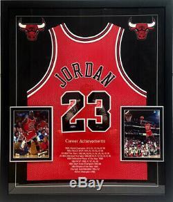 Michael Jordan Signé Career Stat Jersey Chicago Bulls Avec Cadre Uda Le 89/123