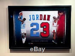 Michael Jordan Signé Framed Uda Chicago Bulls Unc 23 Numéros Jersey Upper Deck