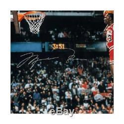 Michael Jordan Signé Slam Dunk 30x40 Photo Encadrée Uda Coa Auto Upper Deck Bulls