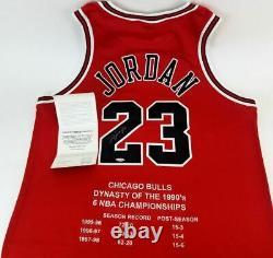 Michael Jordan Signé Uda 1997-1998 Nike Cut Pro Bulls Maillots Dynasty Set L / E