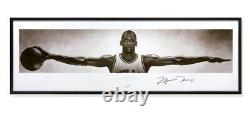 Michael Jordan Signed Autographed 23x72 Wings Framed Photo Chicago Bulls Uda