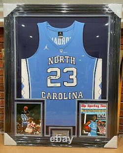 Michael Jordan Signed North Carolina Tar Heels Jersey Custom Framed With Uda Coa