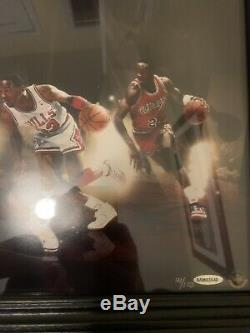 Michael Jordan Uda Encadré Signé Autographié 36x15 Chron Collage Rare 41/123