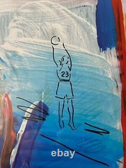 Michael Jordan Uda Signedlast Shot Lithograph Peter Max Avec Remarque 25/123