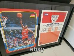 Michael Jordan Upper Deck Signé 1986 Fleer Rookie Rc Blowup Card Uda Auto 13x17
