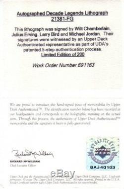 Michael Jordan Wilt Chamberlain Oiseaux Dr J A Signé Décennie Uda Legends Litho Framed