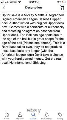 Mickey Mantle Signé Baseball Uda Autographié Upper Deck Assermentée Coa