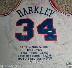 Rare! Charles Barkley A Signé Upper Deck Le 1/16 Stat Maillot Encadré De L'uda