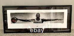 Rare Michael Jordan Autographed Wings 41x17 Framed Nike Poster Uda Le /500