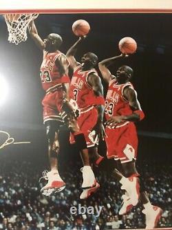 Rare Michael Jordan Uda Signé Auto Framed Triple Exposure Mrjune 16x20 Photo Le