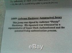 Rare Penny Hardaway Signé Upper Deck Authentique Maillot Olando Magics Nba Uda Coa