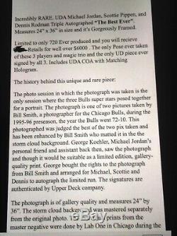 Rare Uda Coa Le / Jordan / Pippen / Rodman / Bulls Photo Auto Doit Lire La Description