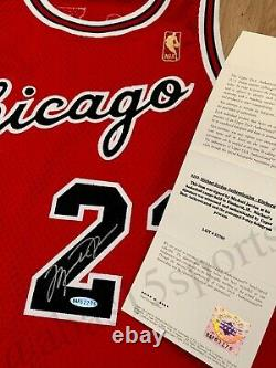 Signé 1996-97 Michael Jordan Champion Pro Cut Rc Rookie Jersey Autograph Uda Pe