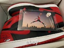 Signé 2000 Nike Air Jordan 1 High Banned 1985 Rookie Retro Shoes Autograph Uda