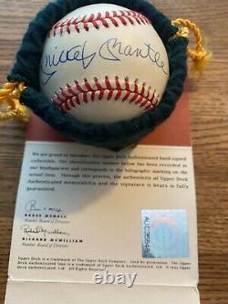 Signé Mickey Mantle New York Yankees Autograph Baseball Uda Upper Deck Coa