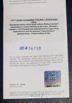 Taureau Michael Jordan Signé Le Dish 16x20 Encadré Photo Uda Limited /300 Auto