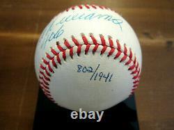 Ted Williams. 406 Boston Red Sox Hof Signé Auto Vintage Oal Baseball Uda Box