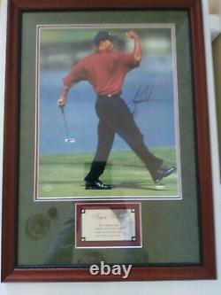 Tiger Woods Autograph 16x20 Framed Fist Pump Photo Uda Deck Supérieur Authentifié