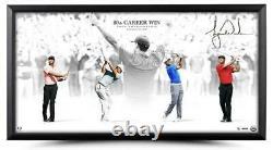 Tiger Woods Autographié Victoire 36 X 18 Photographie Encadrée Uda Le 80