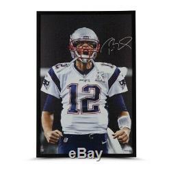 Tom Brady Signé Autographié Encadrée 36x24 Photo Sur Toile Close Up Patriots Uda Coa