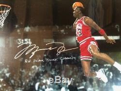 Uda Michael Jordan Autographié 20 X Signé 24 88 Slam Dunk Photo Limitee # 33/88