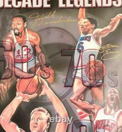 Wilt Chamberlain Erving Bird Michael Jordan Autographe Signé Litho /200 Uda Coa